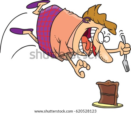 cartoon woman attacking a cake