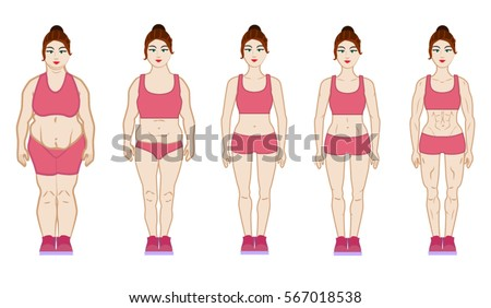 Cartoon woman before and after diet vector illustration, transformation, workout. Different types of women body. Overweight, skinny fat, skinny, fit, thin, muscle