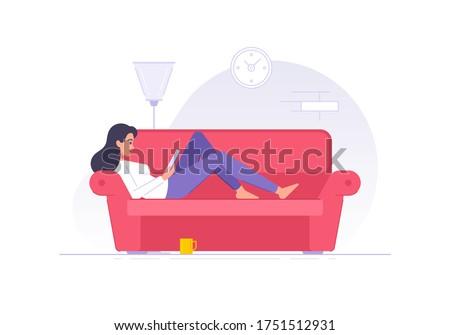 cartoon woman character reading