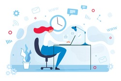 Cartoon Woman Character Work Interacting with Communication Technologies. Female Freelancer Using Laptop for Conversation and Chatting Social Network. Vector Workspace Interior Illustration