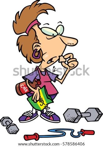 cartoon woman eating junk food