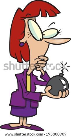 cartoon woman holding a lit bomb