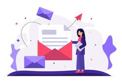Cartoon woman holding huge envelope with letter flat vector illustration. Working process, new email message, office paper and mail delivery. Business and communication concept