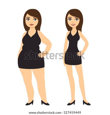 cartoon woman in black dress