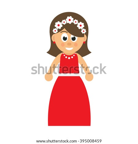 cartoon woman in red dress