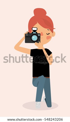 cartoon woman photographer