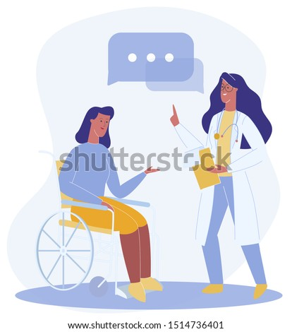 Cartoon Woman Sit in Wheelchair Talk to Therapist Vector Illustration. Doctor Give Recommendation Female Patient. Physically Disabled, Handicapped Person Rehabilitation Treatment, Adaptation, Support