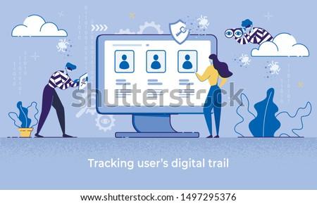 Cartoon Woman Use Computer, Man Thief Watch Vector Illustration. Tracking User Internet Data. Digital Footprint. Identity Theft, Personal Information Hack, Spy Software Risk, Cyber Crime