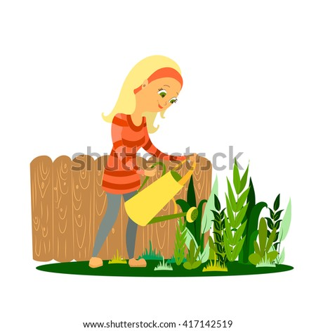 cartoon woman watering plants