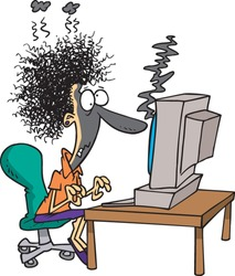 cartoon woman who has just been fried along with her desktop computer
