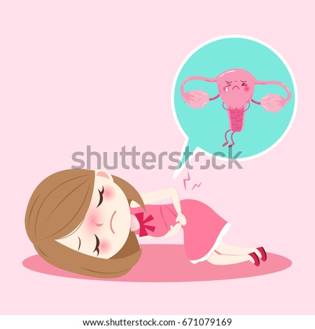 cartoon woman with uterus health concept on pink background