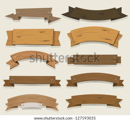 Cartoon Wood Banners And Ribbons/ Illustration of a set of cartoon wooden award ribbon and texas ranch banners, for agriculture and farm seal and certificates