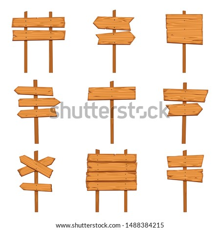 Cartoon wooden arrows. Blank wood signboards and arrow signs. Isolated road direction signpost vector empty post brown rustic billboard set