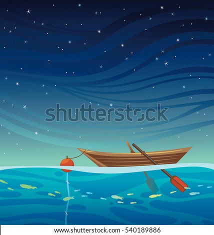 cartoon wooden boat with bouy