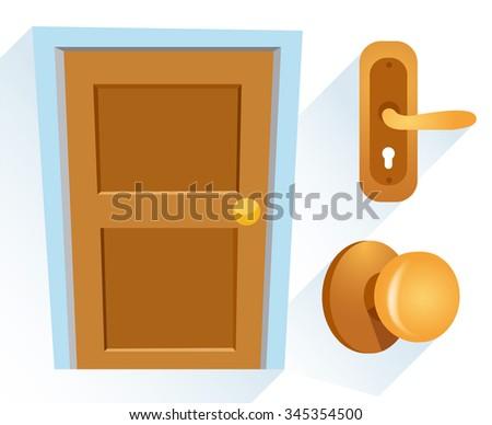 Cartoon Wooden Door : Vector Illustration