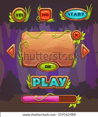 Cartoon wooden game user interface, vector assets for mobile gui design on forest background