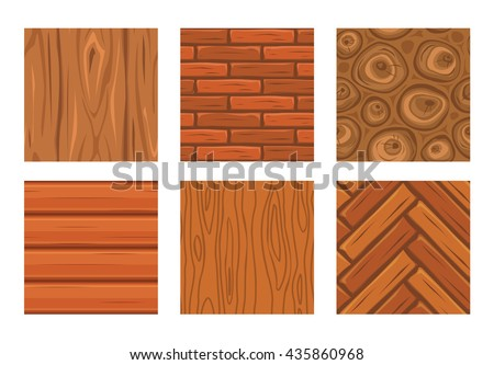 Cartoon wooden seamless textures set for game or web design, brown square wood parquet seamless pattern collection, isolated on white