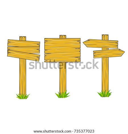 cartoon wooden sign direction way index