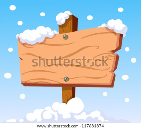 Cartoon wooden sign in the snow