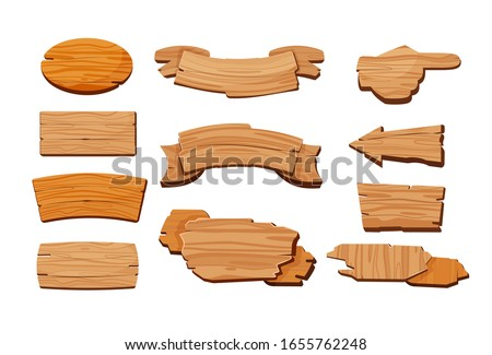 Cartoon wooden signboards. Oval board, banner with blank copy space, road direction sign. Vector illustration set for wild west or rustic style, information, message concept