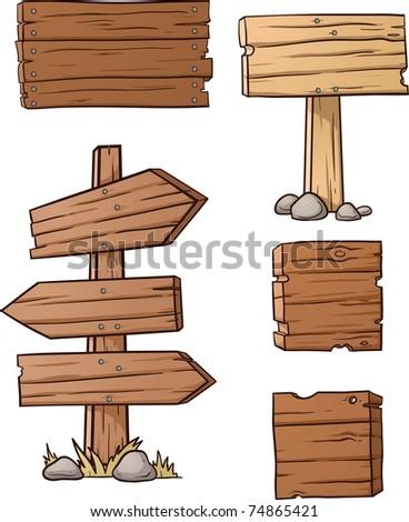 Wooden Plank Cartoon : Wood Plank Sign Vector Cartoon wooden signs. vector
