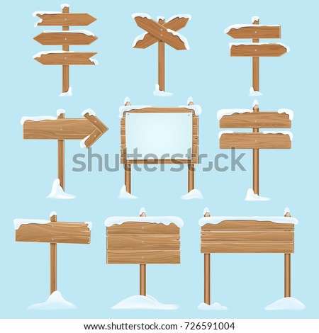 Cartoon wooden signs with snow. Christmas winter holidays vector elements. Wooden billboard banner, signboard directional and pointing guidepost illustration