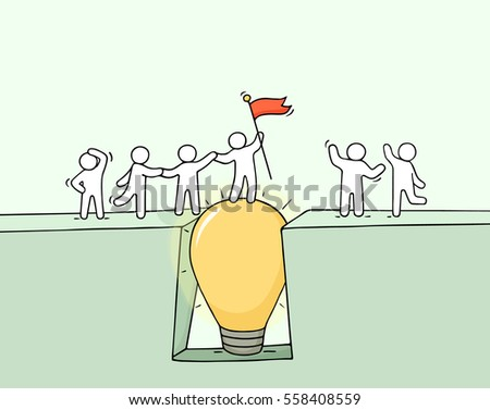 Cartoon working little people cross the abyss. Doodle cute miniature scene of team on the bridge like lamp idea. Hand drawn vector illustration for business design and infographic