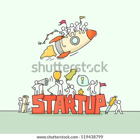 cartoon working little people