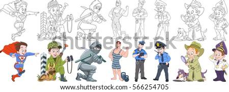 cartoon working people set