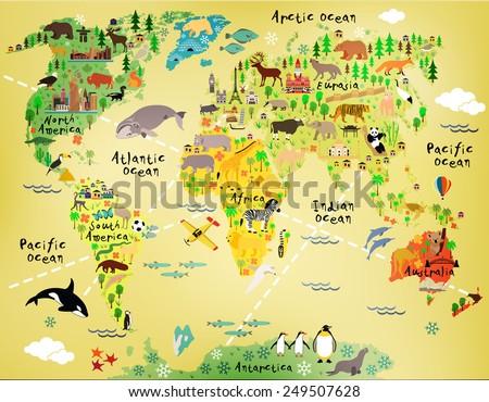 stock vector cartoon world map 249507628 - Каталог — Фотообои «Для детской»