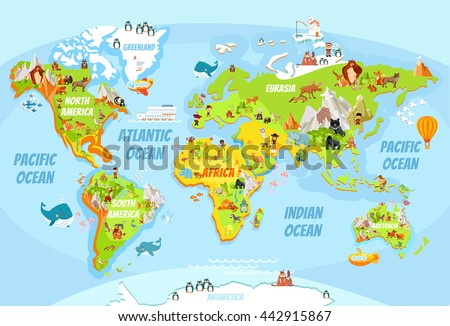 Cartoon world map with a lot of funny animals,sea creatures,various landscapes and peoples of various nationalities.Great for kids design,educational game,magnet or poster design.Vector illustration