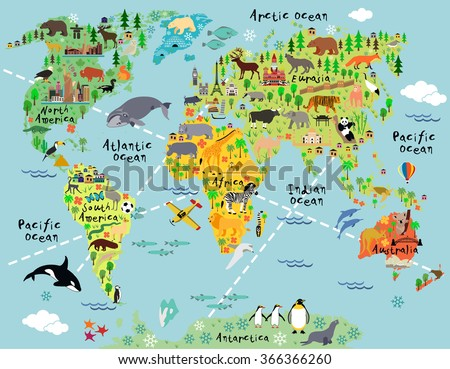 cartoon world map with animal
