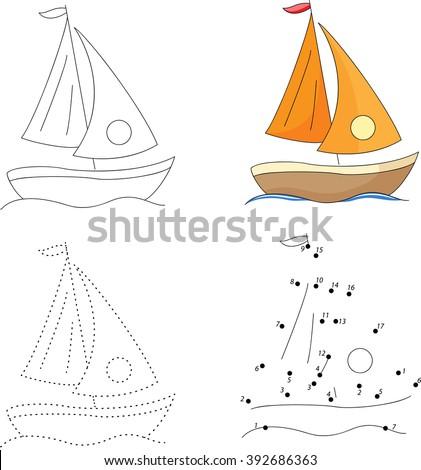 Cartoon yacht. Dot to dot educational game for kids