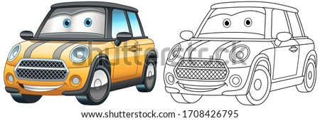 Cartoon yellow car. Coloring page and colorful clipart character. Cute design for t shirt print, icon, logo, label, patch or sticker. Vector illustration.