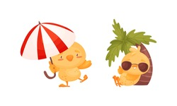 Cartoon Yellow Chicken Walking with Umbrella and Sunbathing Under Palm Tree Vector Set