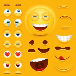 Cartoon yellow 3d smiley face vector character creation constructor. Emoji with emotions, eyes and mouthes set.