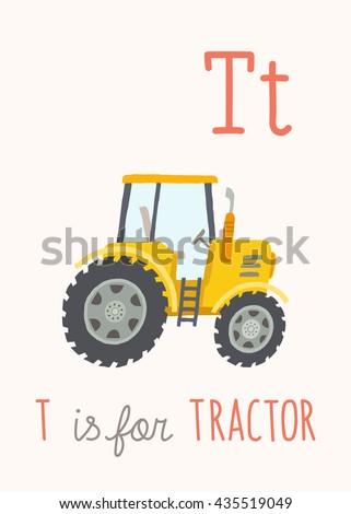 cartoon yellow tractor abc