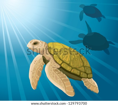 Cartoon Yellow Turtles Swimming On A Blue Sea Background Stock ...