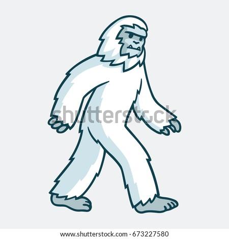 Cartoon yeti monster illustration. White hairy beast drawing.