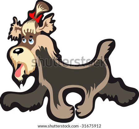 cartoon yorkshire terrier walking happy - stock vector