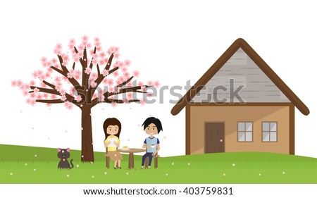 cartoon young couple with cat