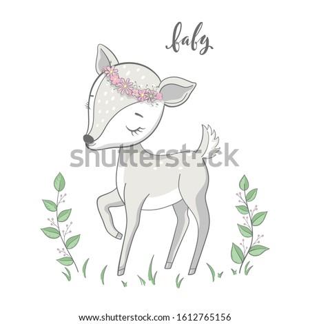 cartoon young deer with
