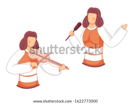 Cartoon Young Girls Singer and Guitarist on White Background.