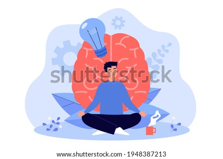 Cartoon young man practicing meditation flat vector illustration. Person character doing yoga exercises for mental and physical health, clear mind, harmony. Health, yoga, meditation concept for design