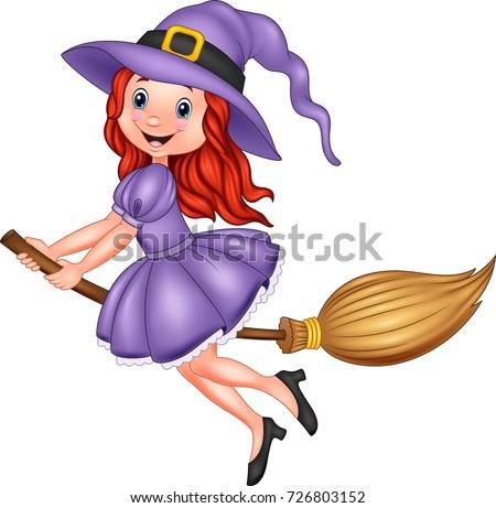 Witch riding a broom cartoon vector - Download Free Vectors