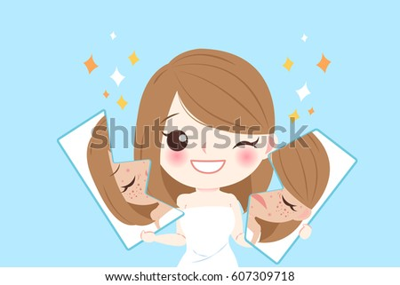 cartoon young woman face with
