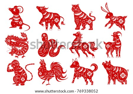 cartoon zodiac silhouette on the white background
