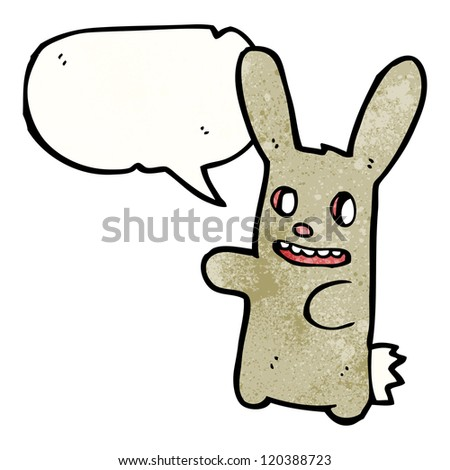 cartoon zombie bunny rabbit with speech bubble - stock vector