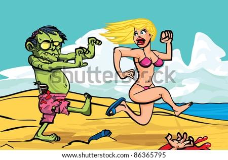Cartoon zombie chasing a bikini girl on the beach