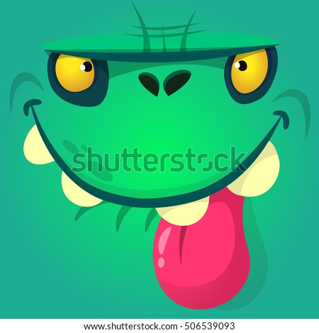 Cartoon zombie face. Vector Halloween monster